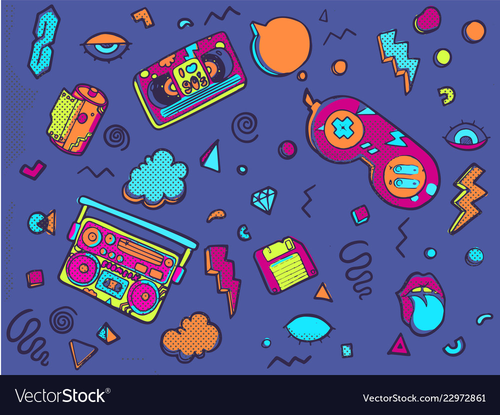 Back to the 90s set of stickers pins patches in
