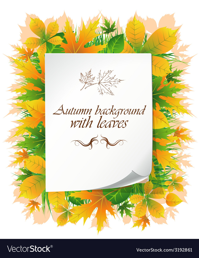 Background with autumn leaves and place for text