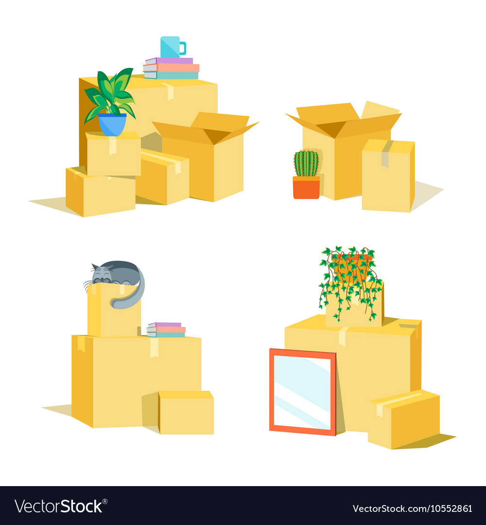 Cardboard Boxes for Moving Set