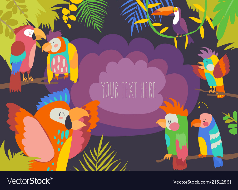 Cartoon tropical paradise frame with parrots