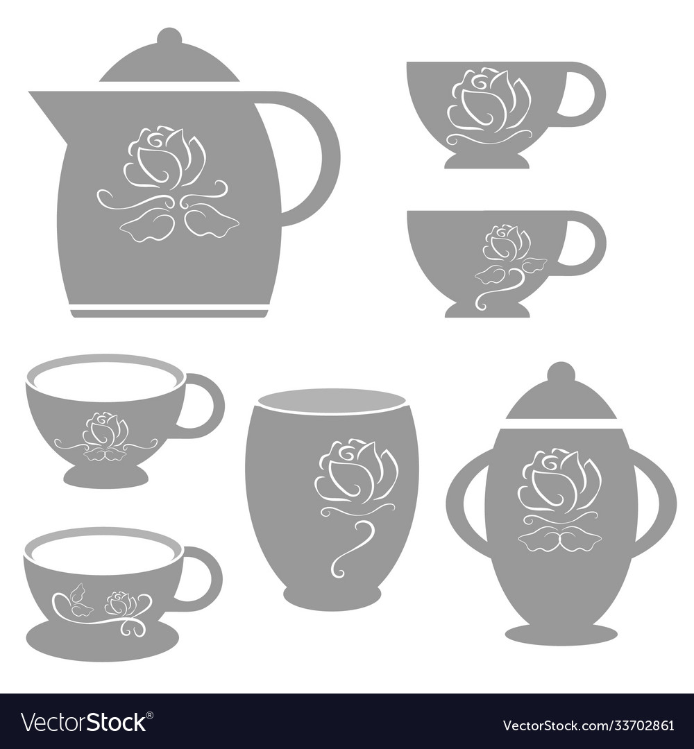 Coffee cup set with white rose line