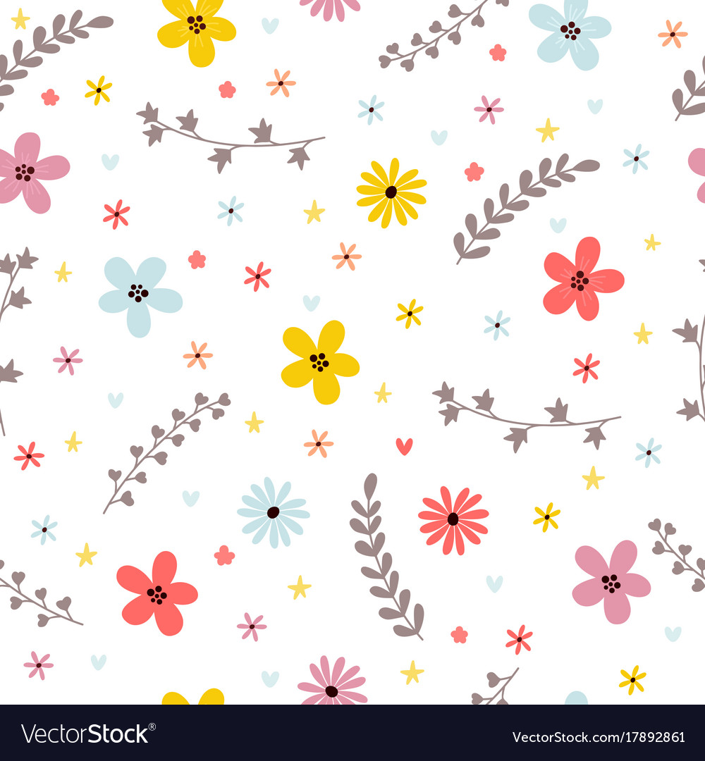 Floral summer seamless pattern with leaves