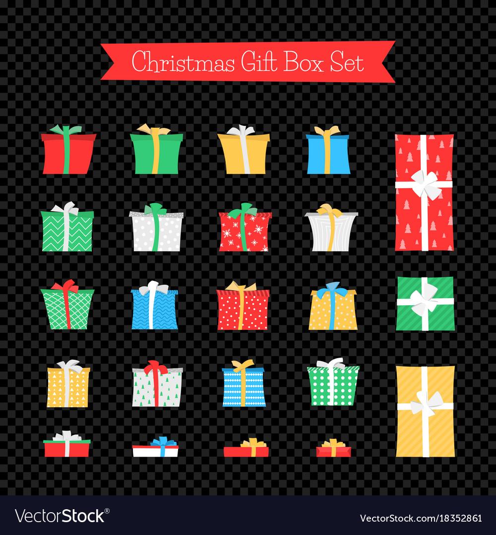 Gift box set isolated on dark transparent