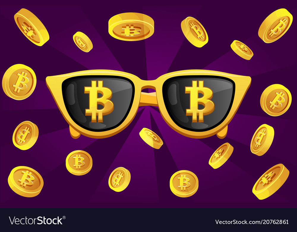 Gold glasses with the symbol bitcoin and