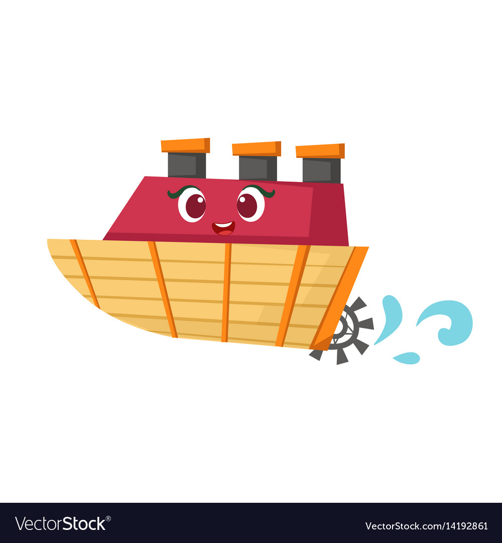 Little paddle retro steamer boat cute girly toy vector image