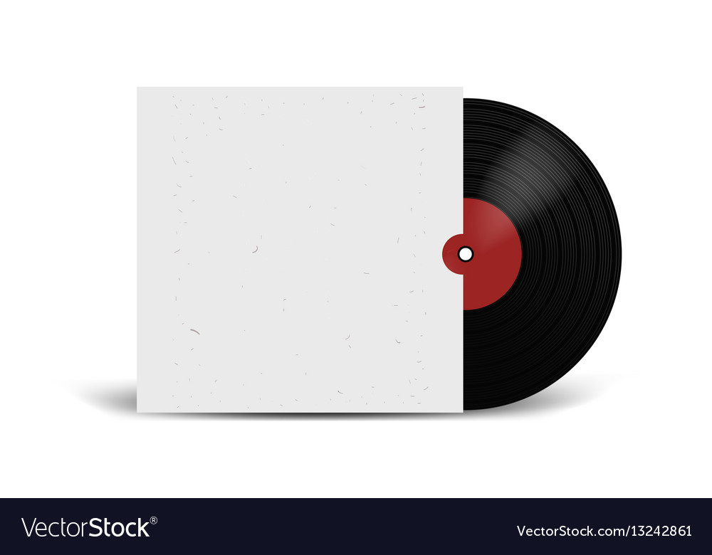 Realistic vinyl record with cover mockup disco