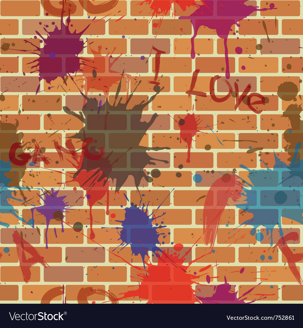 Seamless dirty brick wall graffiti paint
