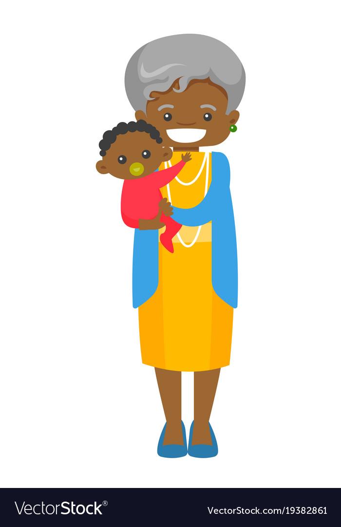 Senior african grandmother holding grandson