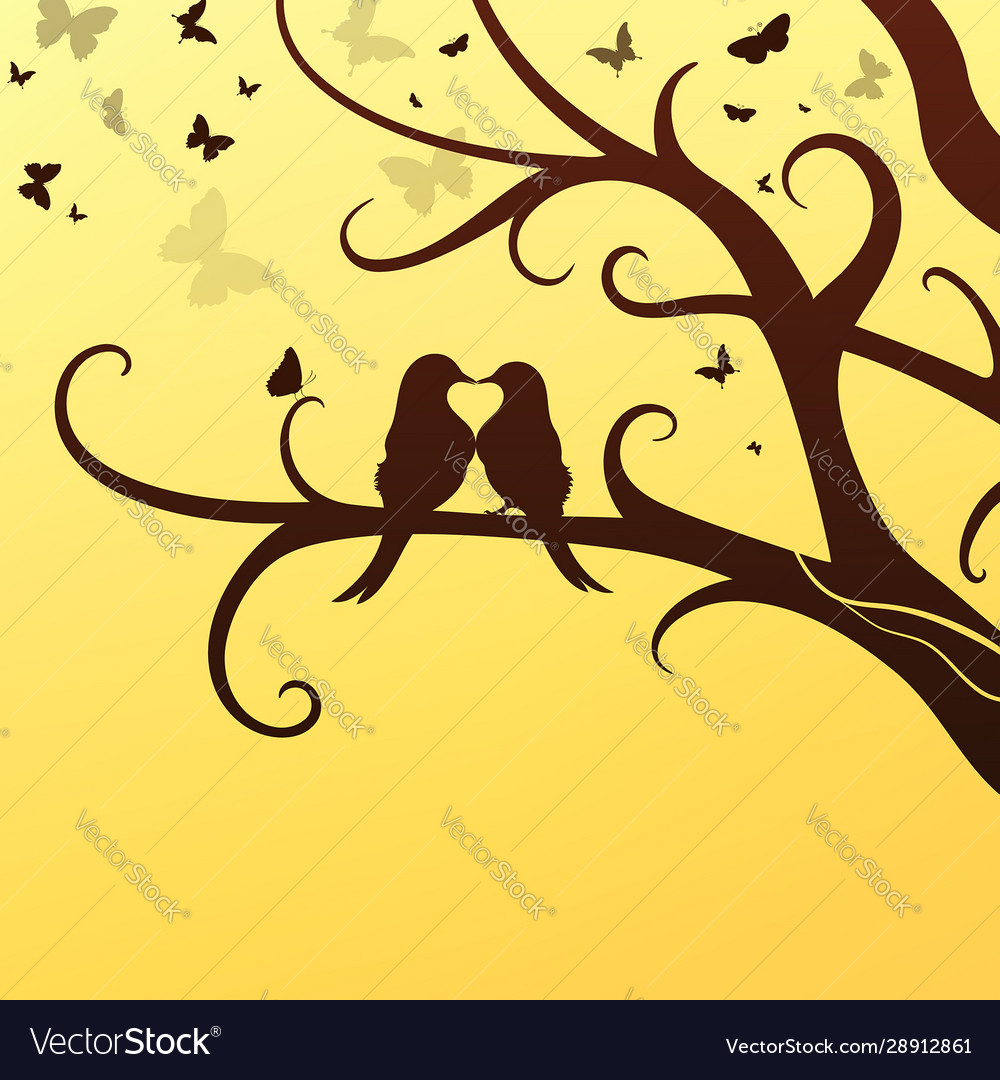Spring romantic birds sit on a tree vector