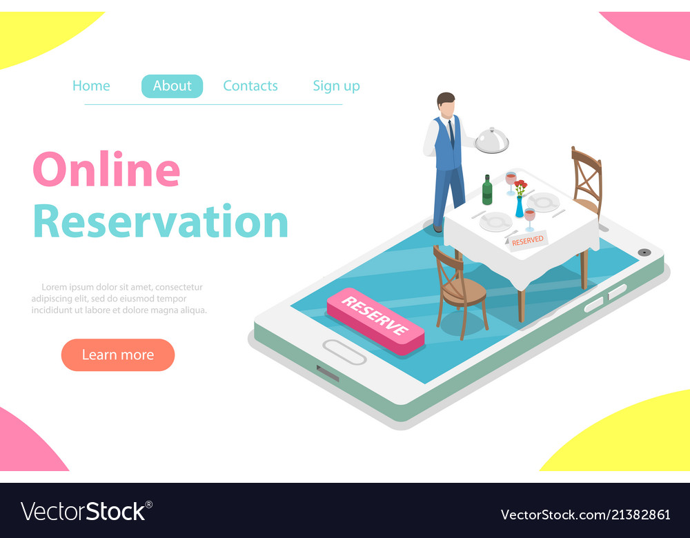 Table online reservation flat isometric