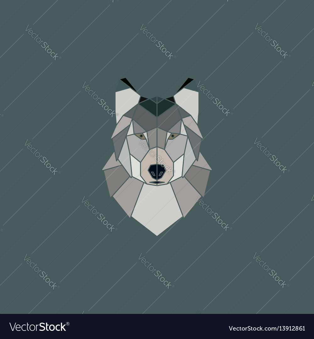 Wolf head geometric flat design style