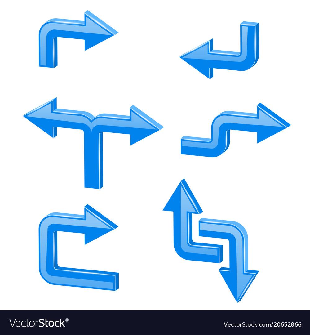 Blue 3d arrows different directions