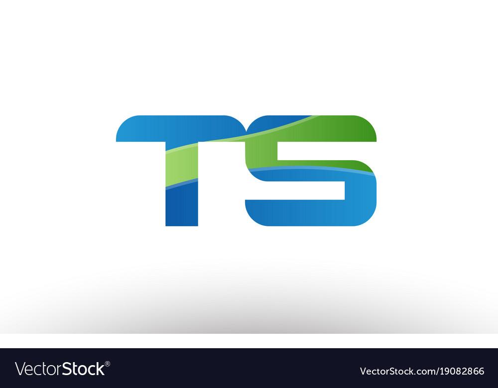 Blue green ts t s alphabet letter logo