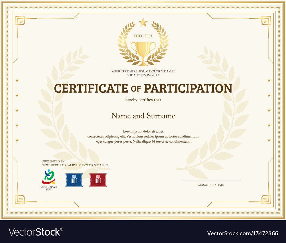 Certificate of participation template in gold tone