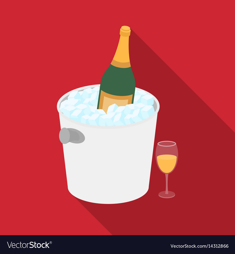 Champagne bottle in an ice bucket icon in flat