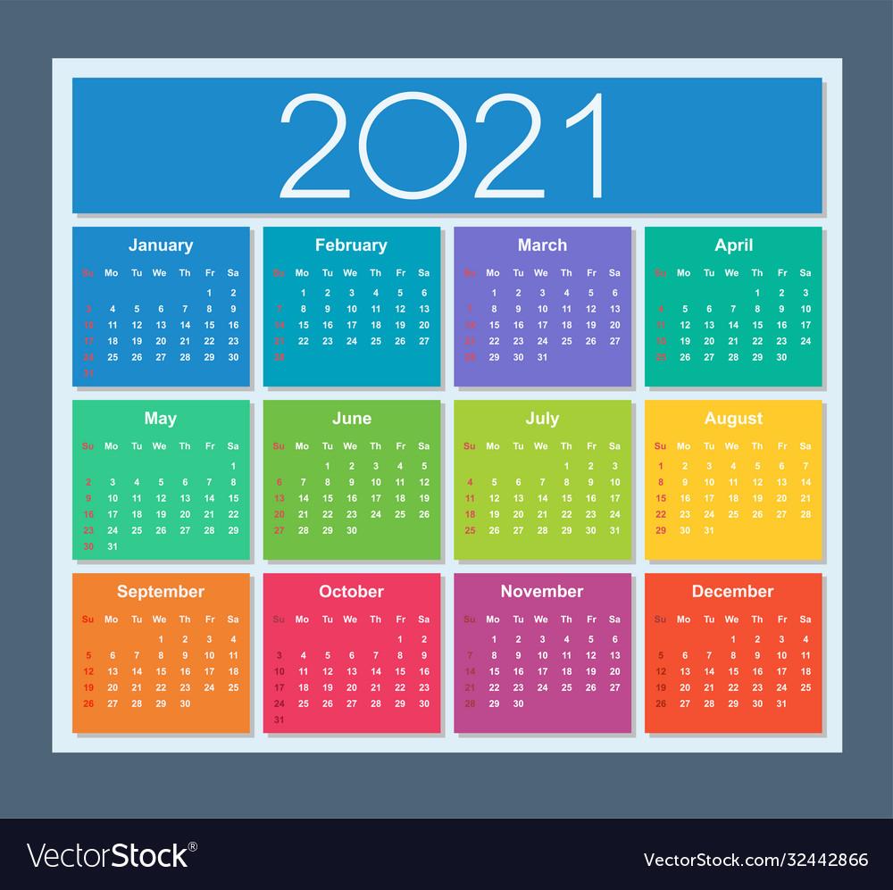 Colorful year 20 calendar week starts on sunday Vector Image