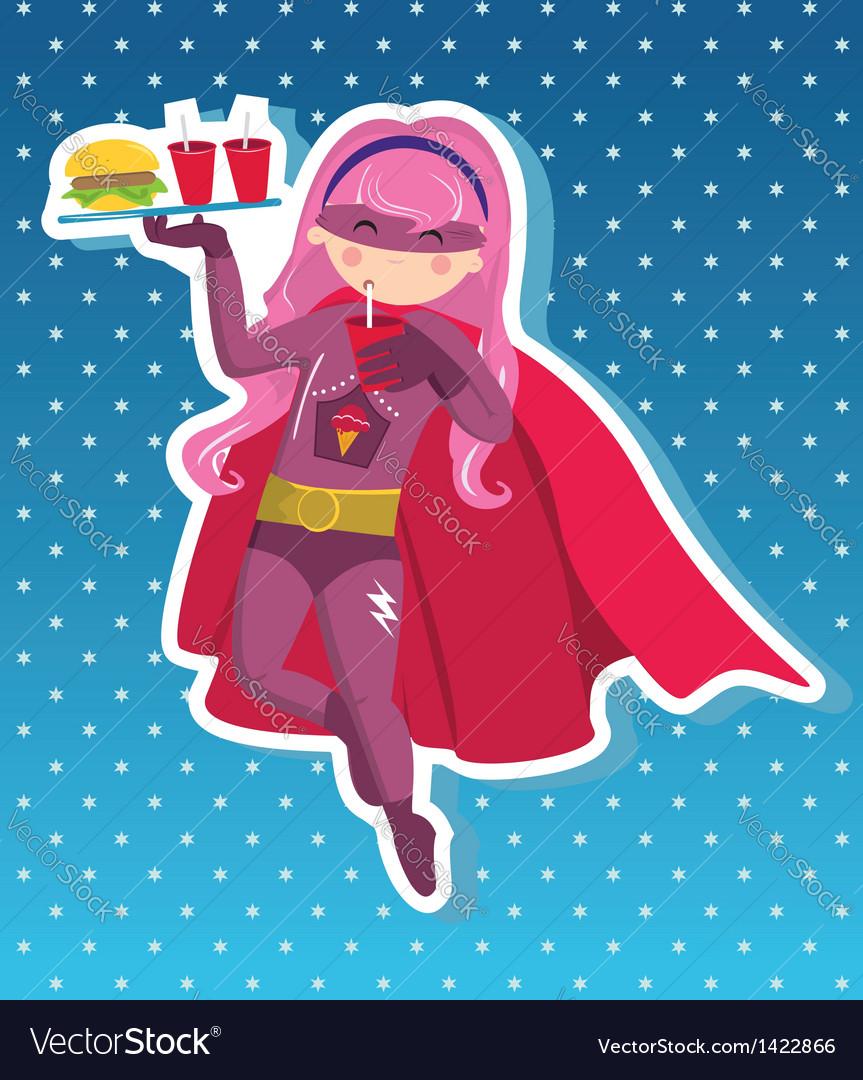 Fast food superhero girl cartoon vector image