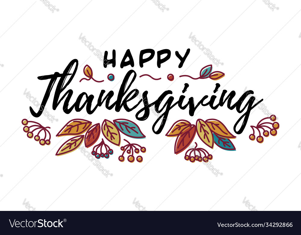Hand drawn happy thanksgiving typography in