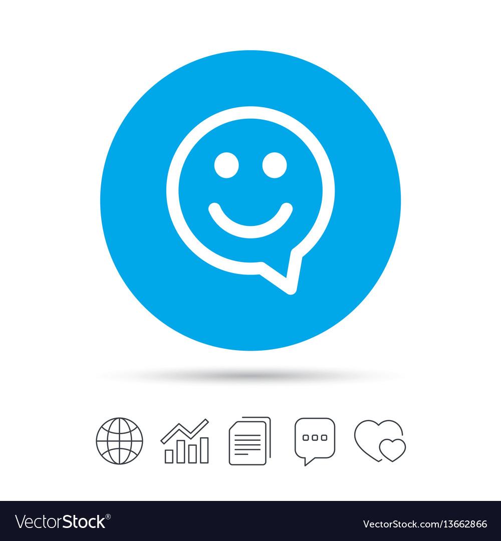 Happy face speech bubble symbol smile icon