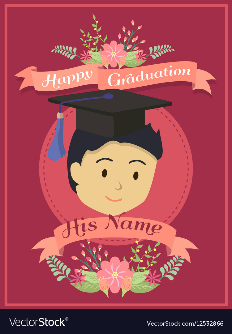 Happy graduation boy red greeting card royalty free vector happy graduation boy red greeting card vector image m4hsunfo