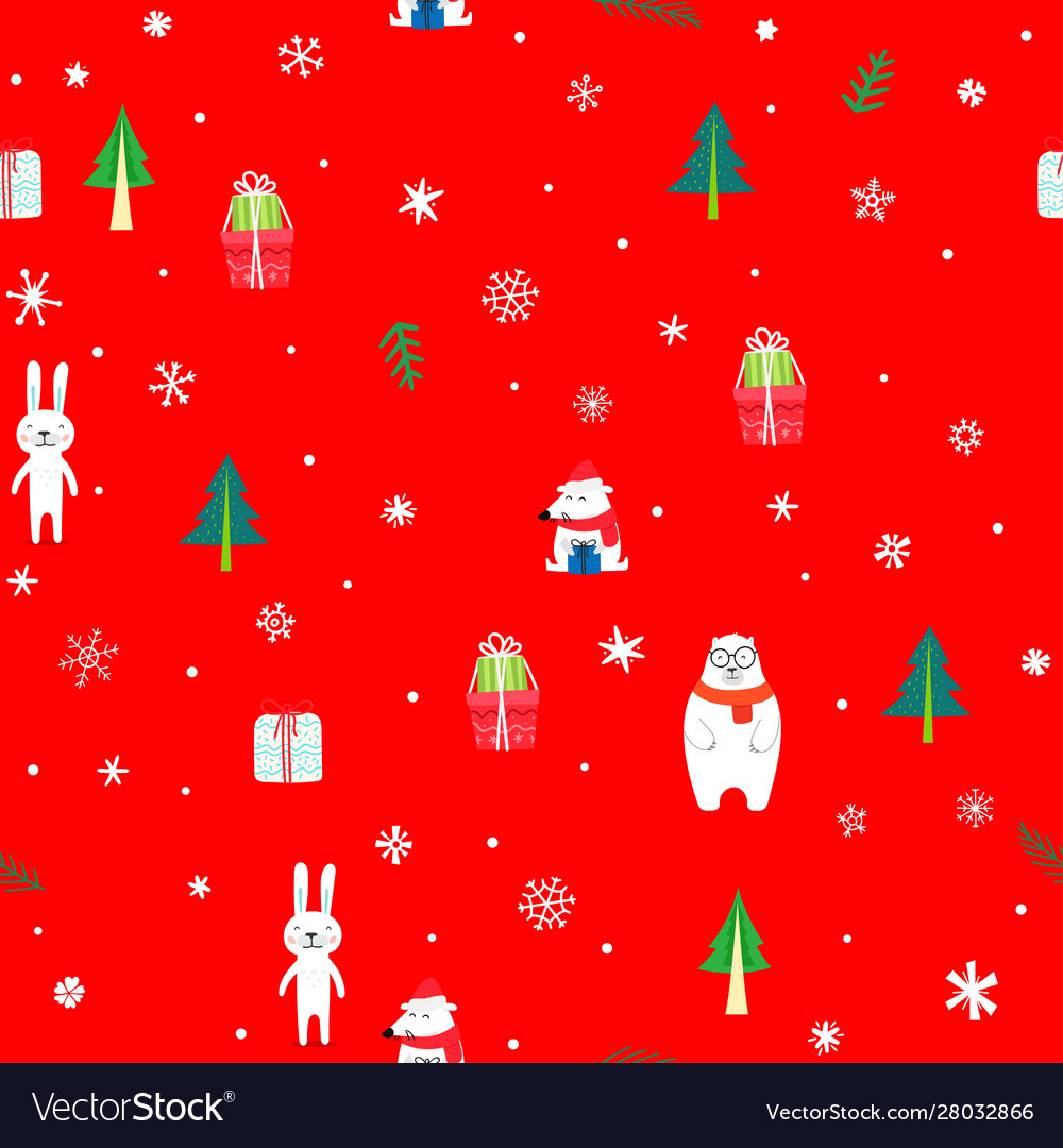 Holiday seamless pattern with christmas elements