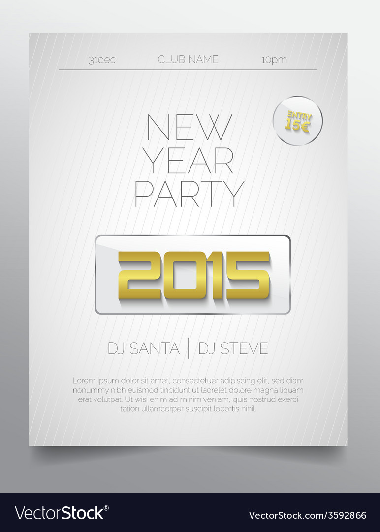 New year party flyer template - golden white Vector Image