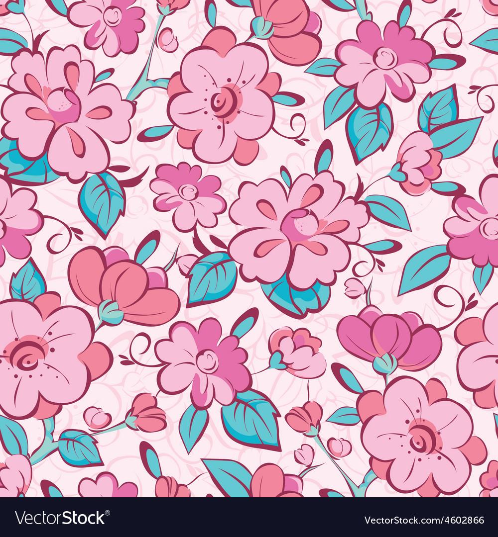 Pink blue kimono flowers seamless pattern vector image mightylinksfo