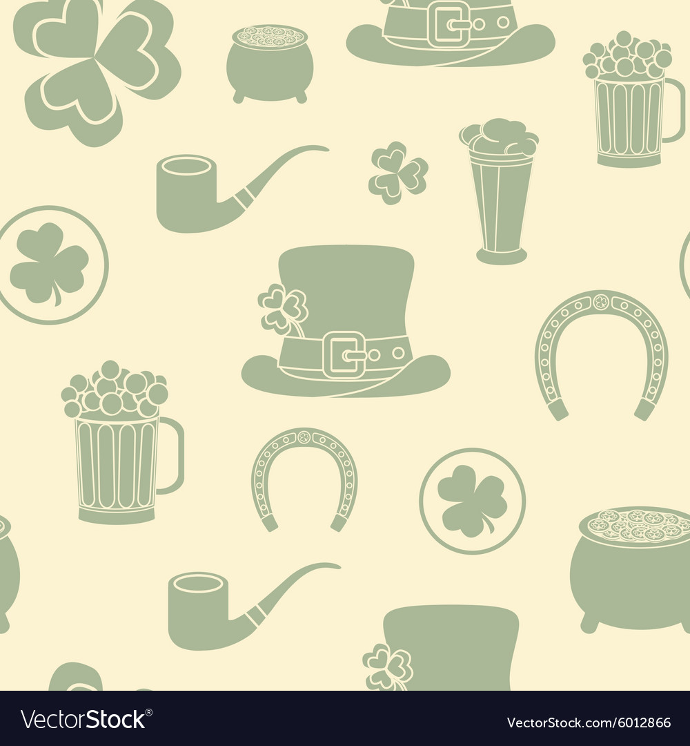 Seamless background St Patricks attributes Retro