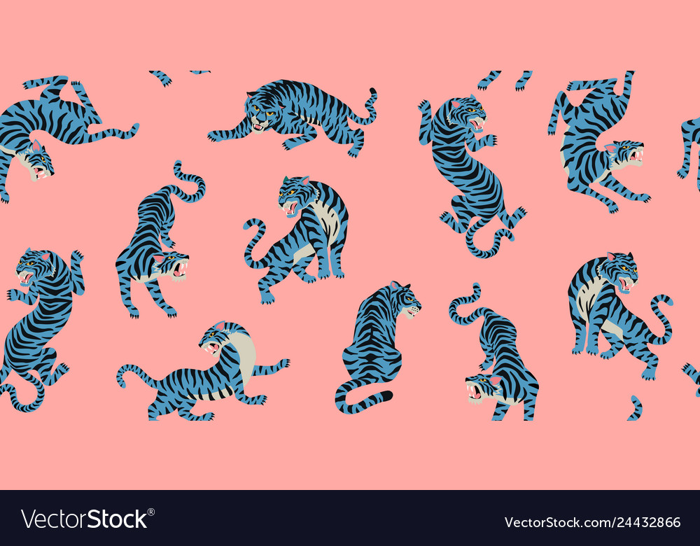 Seamless pattern with cute tigers on the