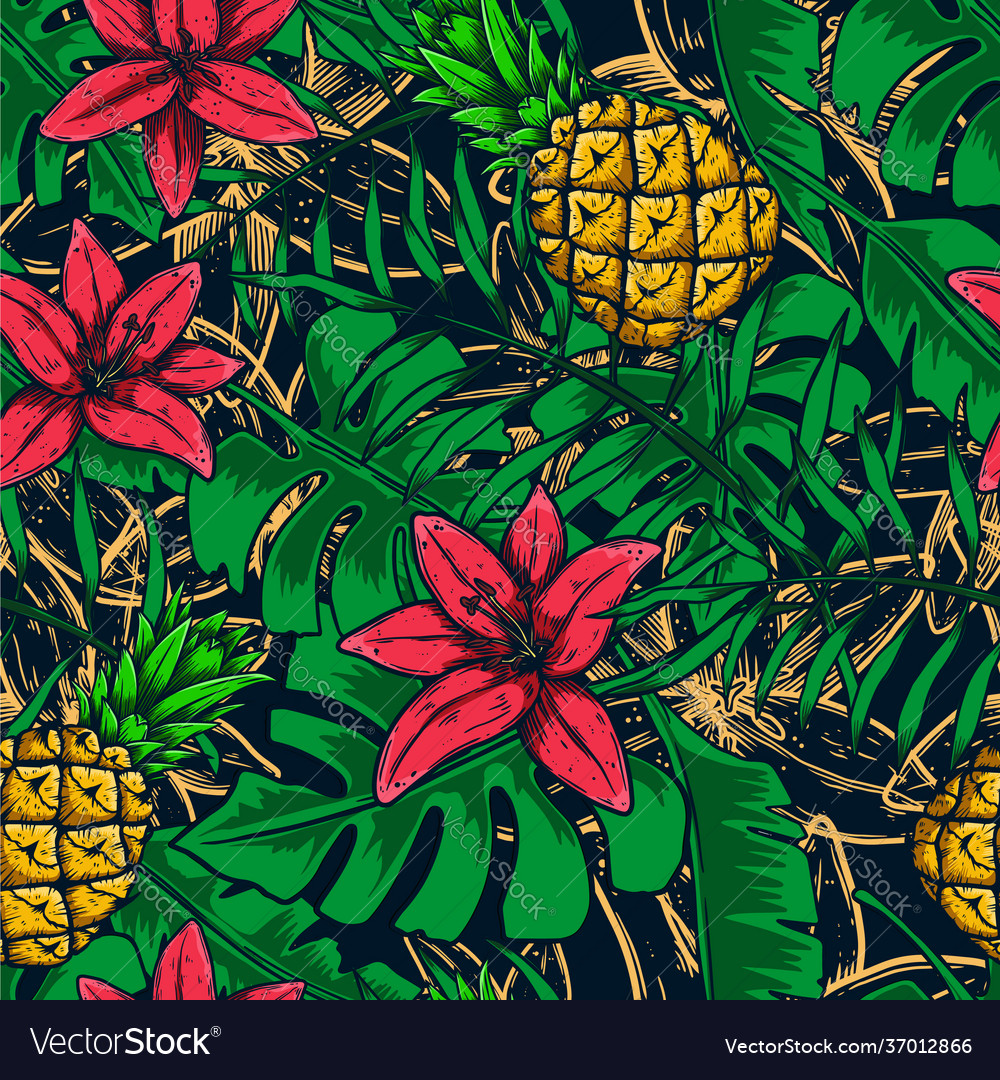 Seamless pattern with tropical leaves fruit
