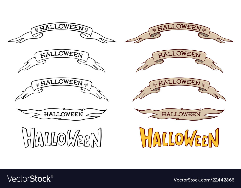 Set of monochrome and color ribbons halloween