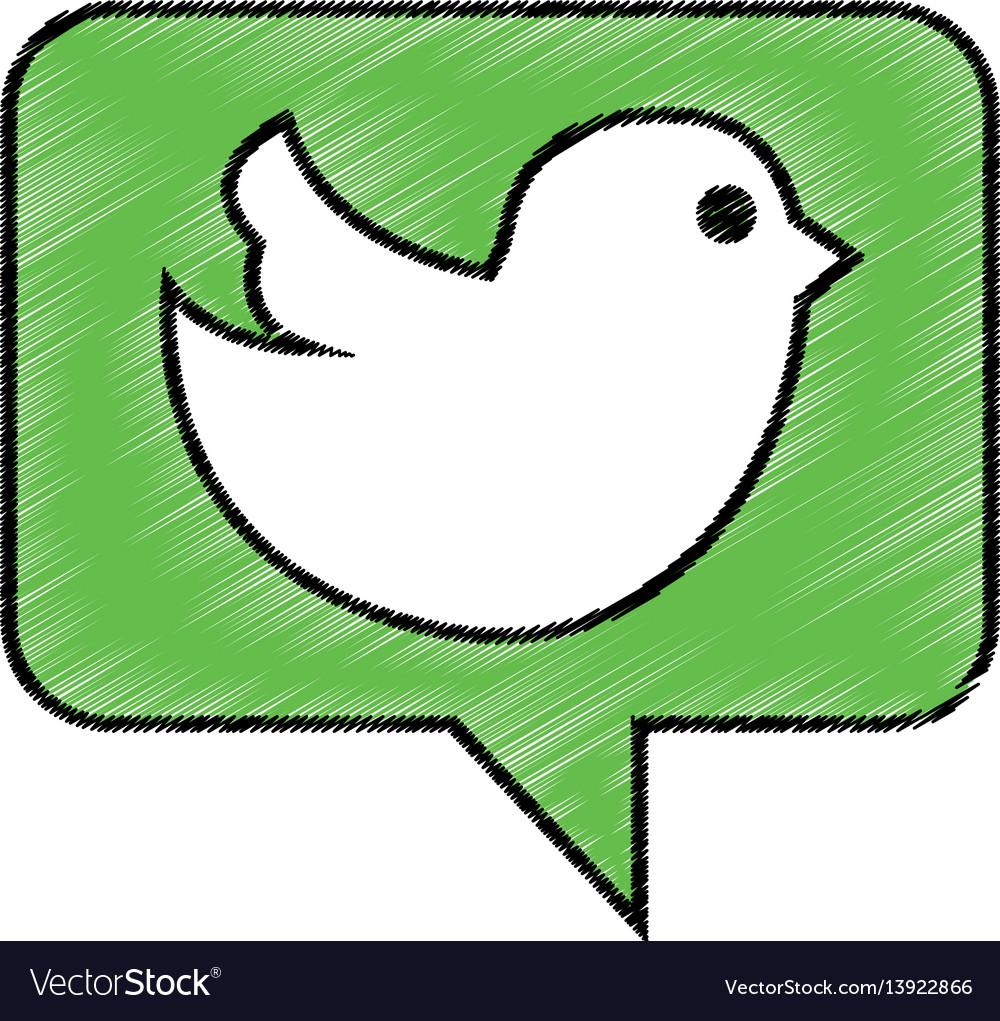 Speech bubble with social bird isolated icon vector image