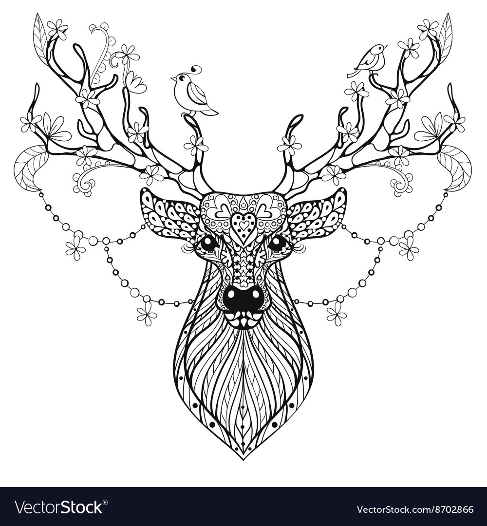 Zentangle Hand drawn magic horned Deer for adult