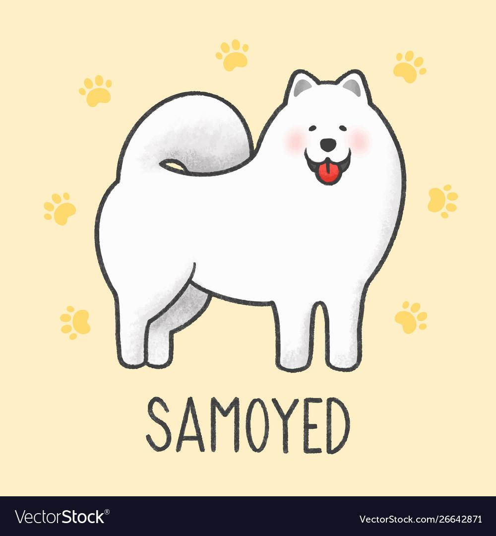 Cute Samoyed Cartoon Hand Drawn Style Royalty Free Vector