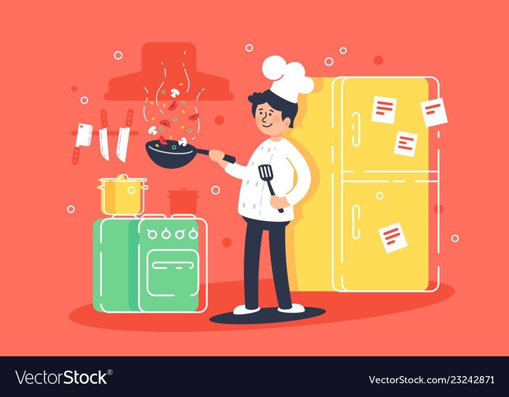Flat young man cooks fry in kitchen in