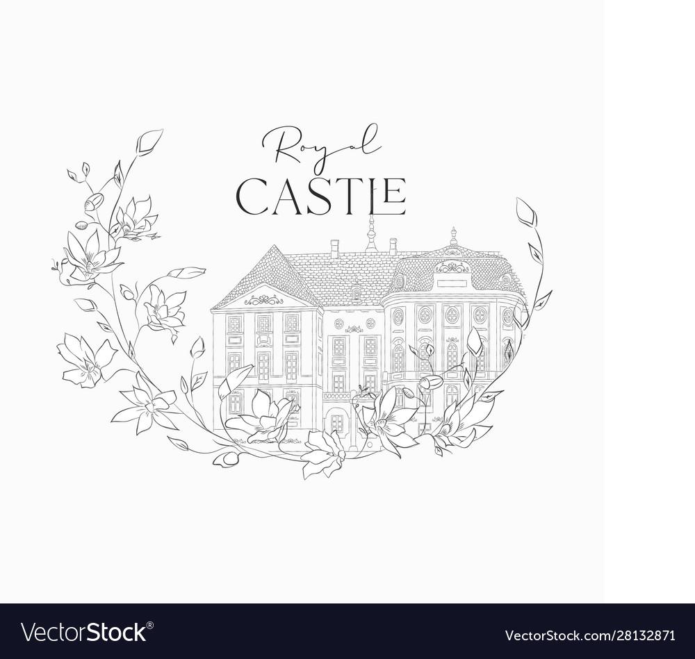 Hand drawn old royal castle in floral frame