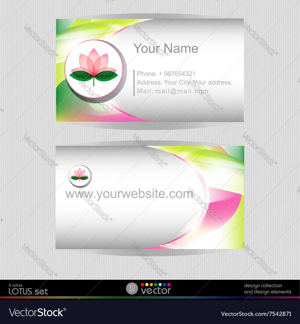 Lotus blossom business card template Royalty Free Vector