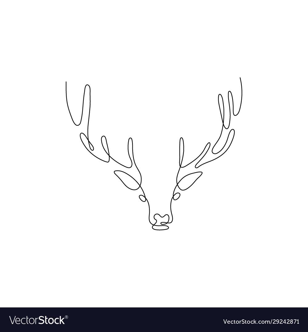 One line deer head design silhouette hand drawn