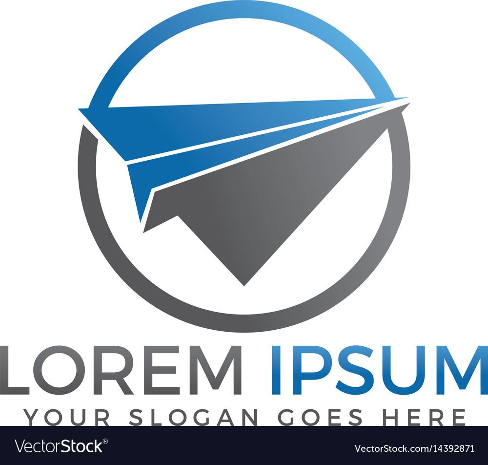 Paper plane travel logo design