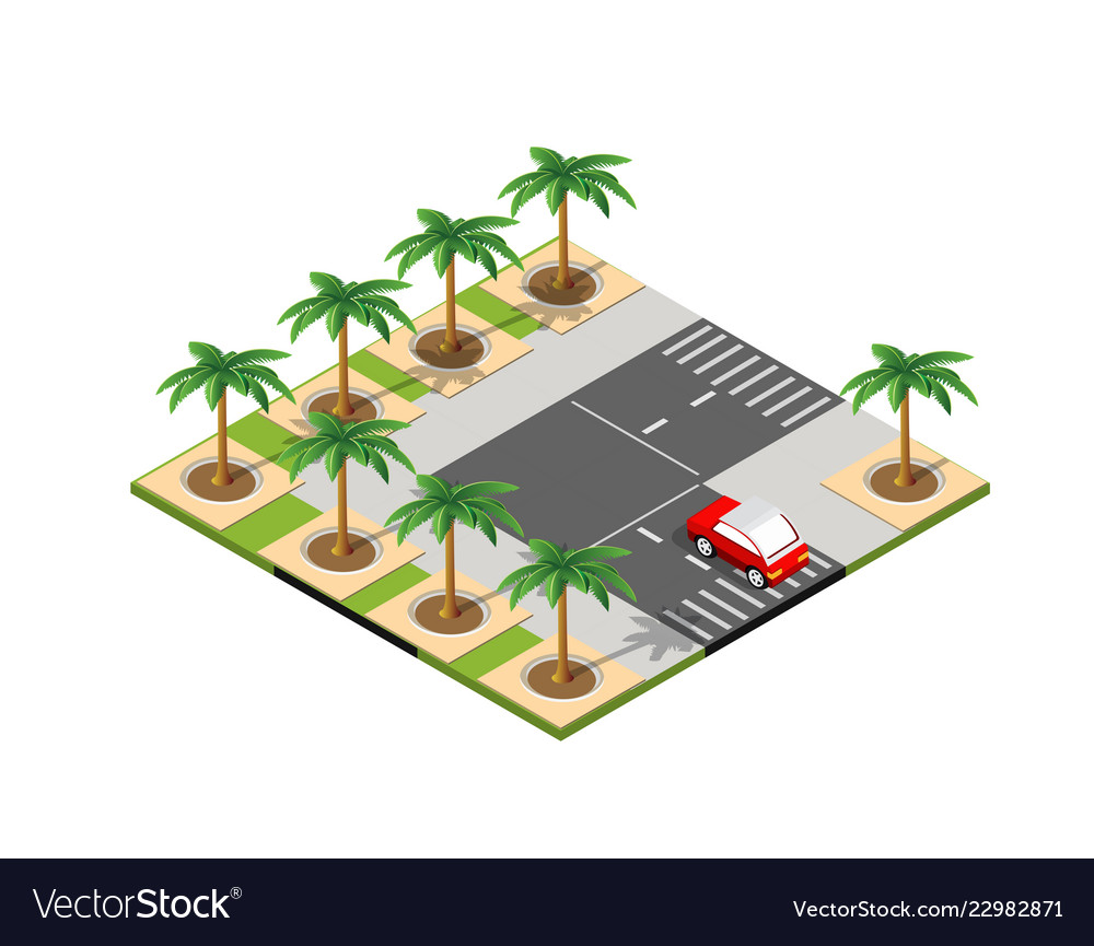 Road isometric 3d city