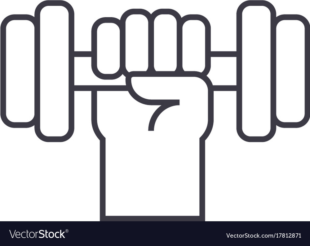 Strong hand with dumbbell line icon sign