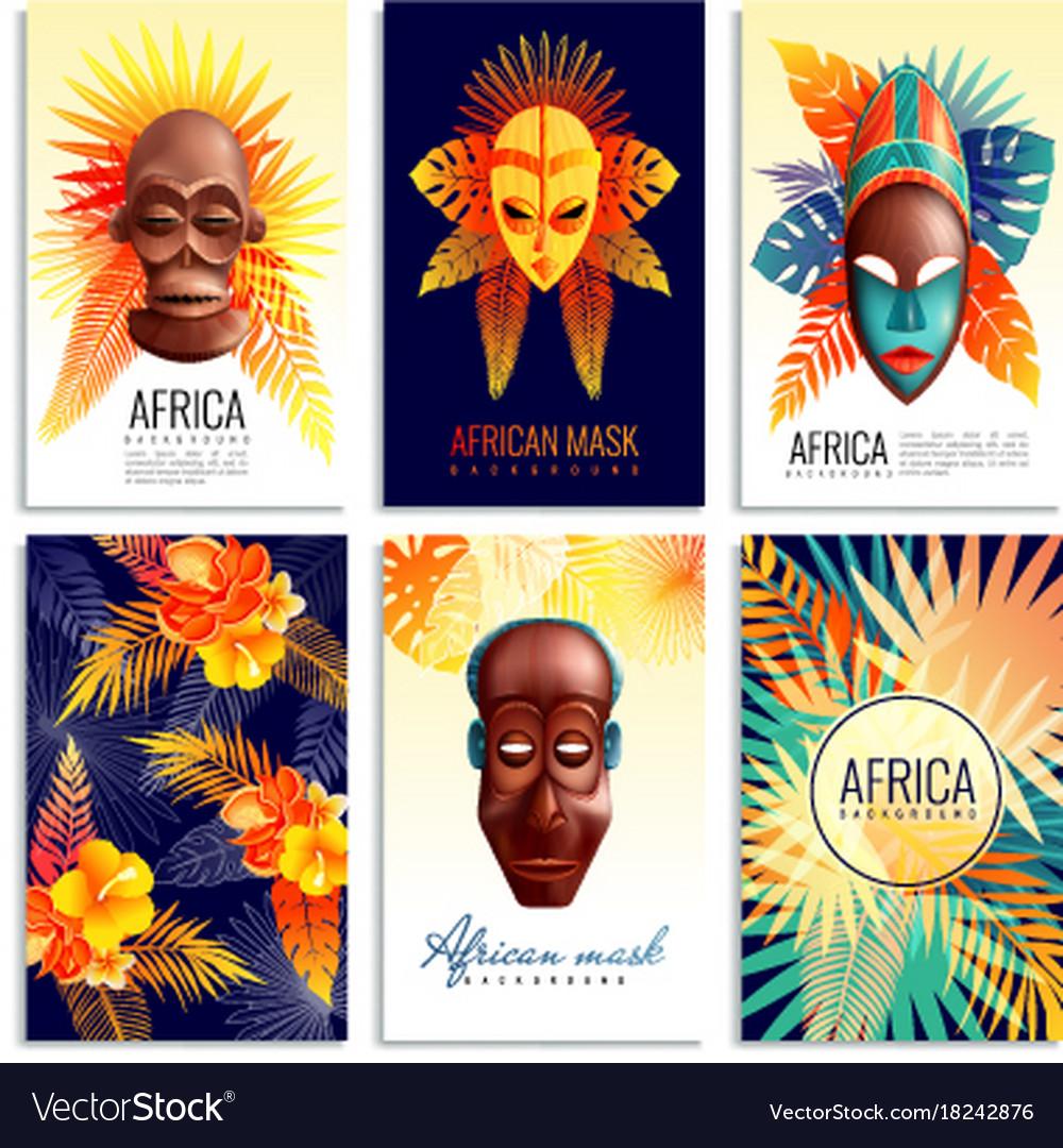 African mask cards set