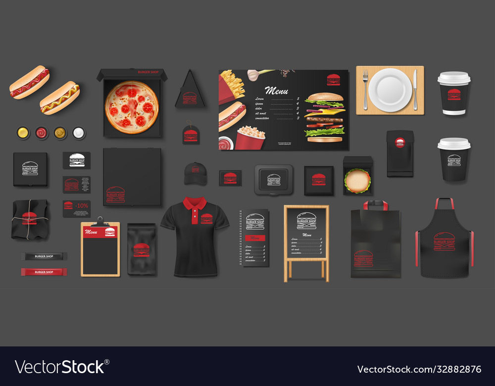 Black mockup for pizzeria cafe fast food