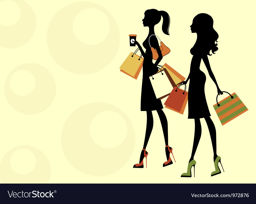 Chic women shopping vector image