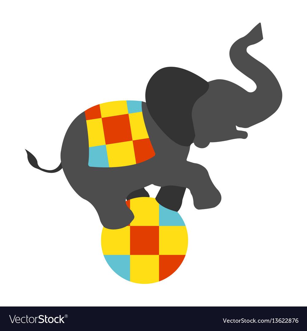 Circus elephant on the ball icon vector image