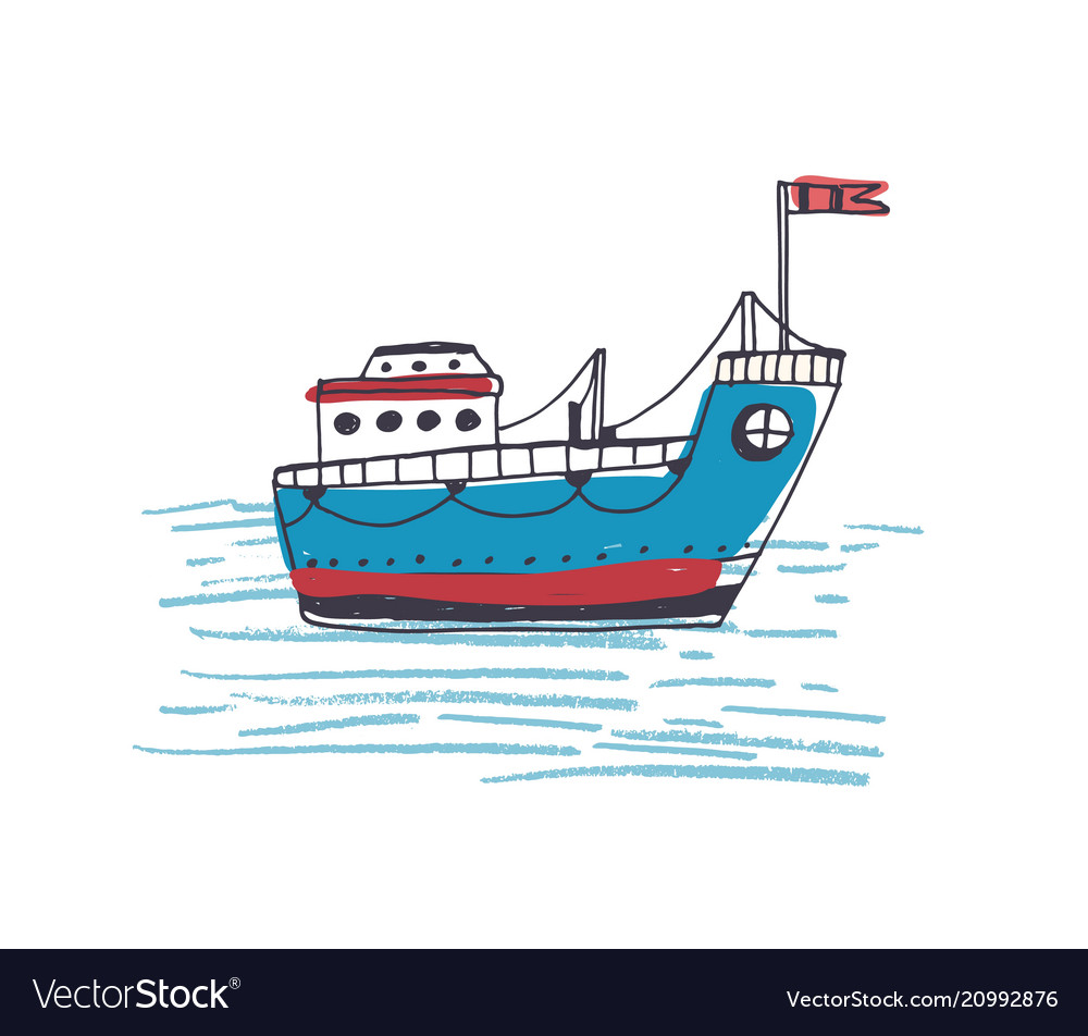 Colorful drawing of passenger ferry boat or marine