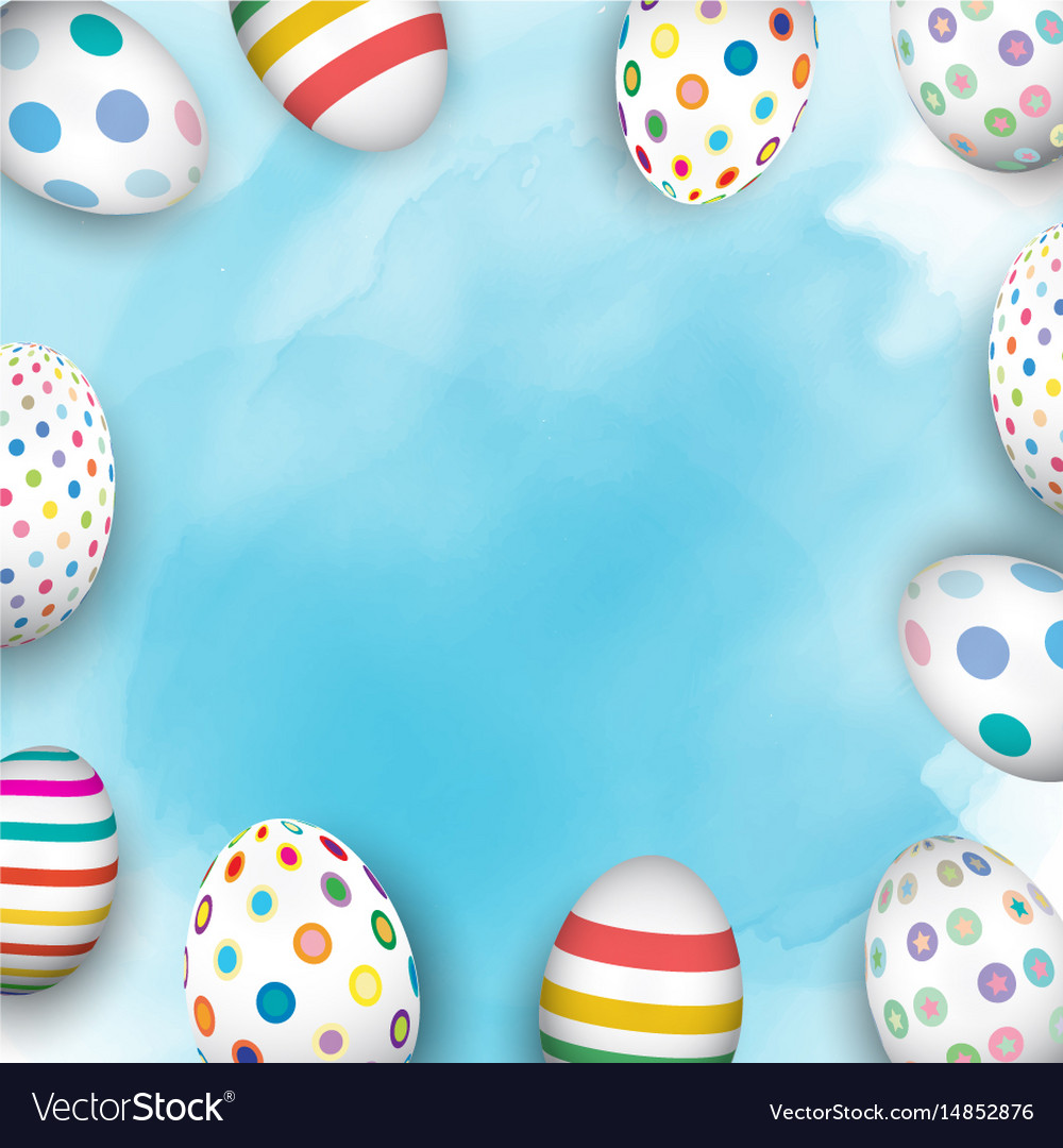 Easter eggs on watercolour background vector image