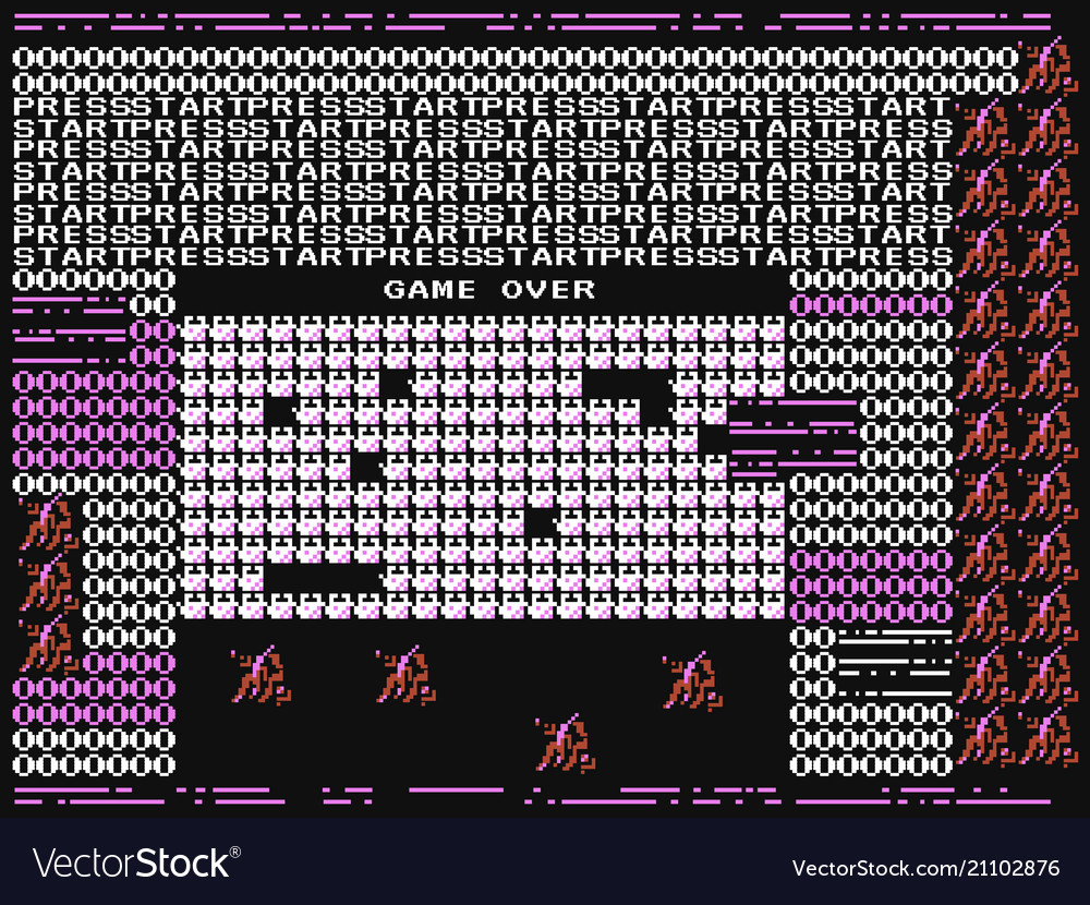 Game over glitch retro video game error computer