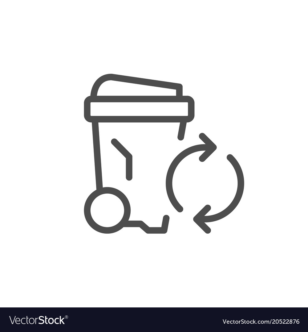 Garbage recycling line icon