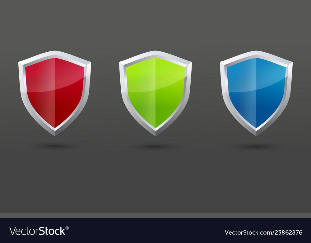 Glossy steel shield set protection symbol